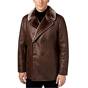 Tasso Elba Mens Faux Fur Lined Pea Coat Brown M