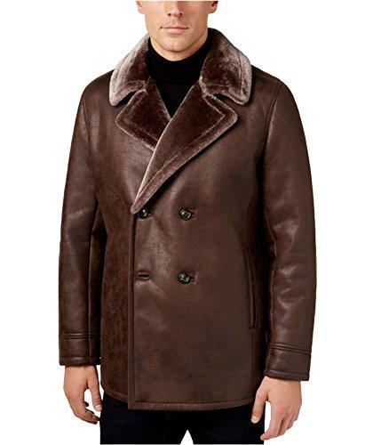 Tasso Elba Mens Faux Fur Lined Pea Coat Brown M