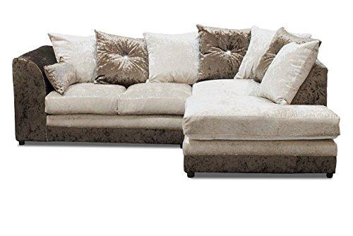 Glamour marrón/Oyster Mano Derecha sofá de Esquina, Tela ...