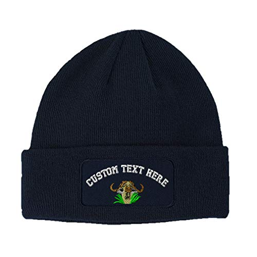 Custom Text Embroidered Cape Buffalo Unisex Adult Acrylic Double Layer Patch Beanie Skully Hat - Navy, One (Personalized Custom Embroidered Cape)