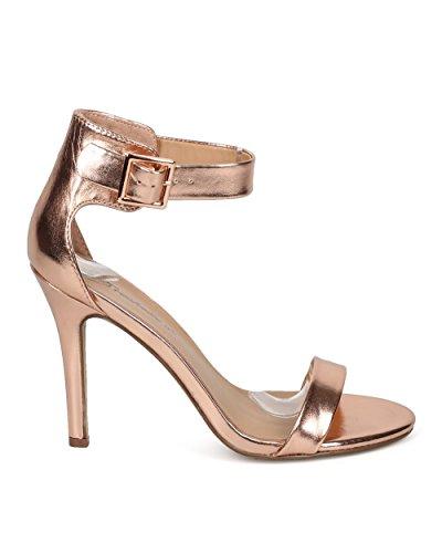 Breckelles EB56 Women Metallic Open Toe Ankle Strap Single Band Stiletto Sandal - Rose Gold agjkQ