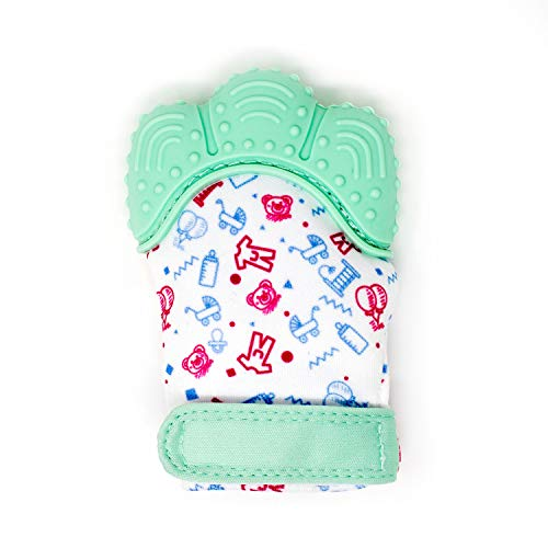 - My Mini Mitt | Teething Mitten | Soothing Gum Relief Toy Glove & Teether for Babies, Infants, Toddlers, Boy & Girl | 3-12 Months | Baby Shower Gift + BONUS Storage Pouch (Mint Green)