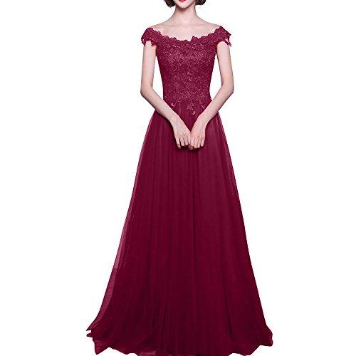 Spitze Brautmutterkleider Damen Charmant Rock A Abendkleider Linie Kurzarm Glamour Weinrot Brautjungfernkleider Lang wY7EEx6q