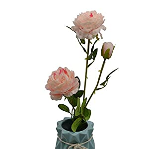 YONGSNOW 3 Heads Artificial Western Rose Peony Flower Fake Cloth Rose Floral Bouquet Home Garden Party Wedding Decoration Pack of 3 (Rose Pink) 22
