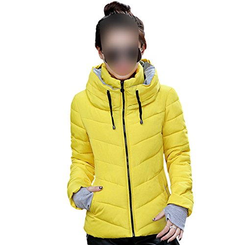 Collar Mujeres Coats Down Casual Packable Deylaying Puffer del Soporte Amarillo Outwear Ligero Chaquetas vxadT