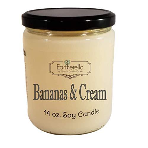 BANANAS & CREAM Natural Soy Wax 14 oz. Jar Candle, 90+ hours ()
