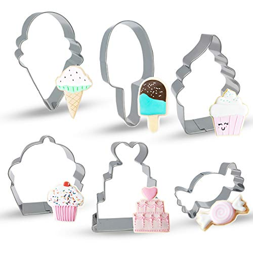 Bonropin Ice Cream Cupcake and Sweets Cookie Cutter Set(6 Pieces),Stainless Steel Cutters Molds Cutters for Making Ice Cream Cone,Popsicle,Soft Serve Ice Cream,Cupcake,Love Cake and Candy ()