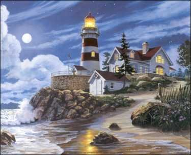 Lighthouse in Moonlight Paper Tole 3D Decoupage Craft Kit size 16x20 - Decoupage 3d Paper