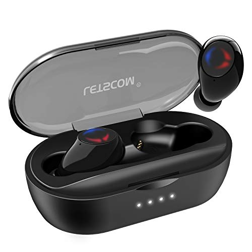 Letscom True Wireless Earbuds, Bluetooth 5.0 Headphones with Microphone, Wireless Running Sports Workout Earphones 3D Stereo Sound, IPX5 Sweatproof, 27 Hours Playtime with Charging Case (Best Headphones For Working Out 2019)