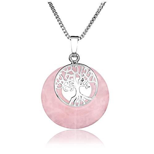Jovivi Silver Tree of Life Chakra Necklace Rose Quartz Gemstone Reiki Healing Round Torus Pendant Necklace