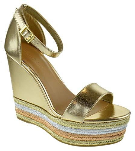 - BAMBOO Choice 27M Womens Slingback Buckle Platform Wedge Dress Sandals Gold 8