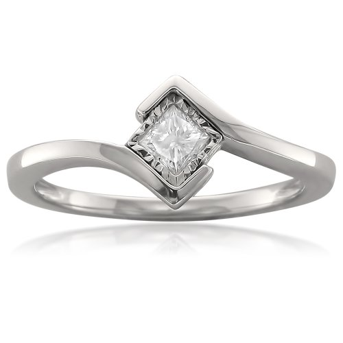 - 14k White Gold Princess-cut Solitaire Diamond Bezel-Set Engagement Ring (1/5 cttw, I-J, I1-I2), Size 8