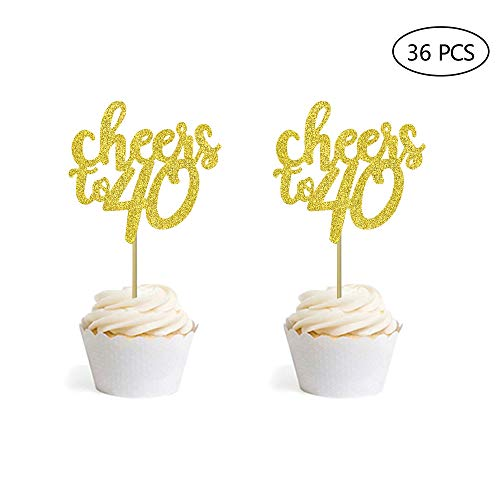 36 PCS Gold Glitter Cheers to 40 Cupcake Toppers for Number 40 40th Birthday Wedding Anniversary Party Decorations (40 Birthday Cup Cake Toppers)