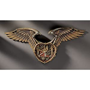 26.5″ Victorian Steampunk Winged Sculpture Wall Timepiece Clock