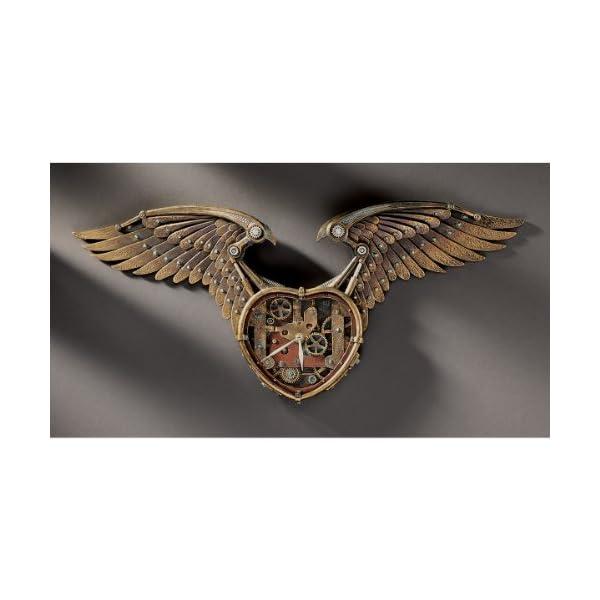 "26.5"" Victorian Steampunk Winged Sculpture Wall Timepiece Clock 3"