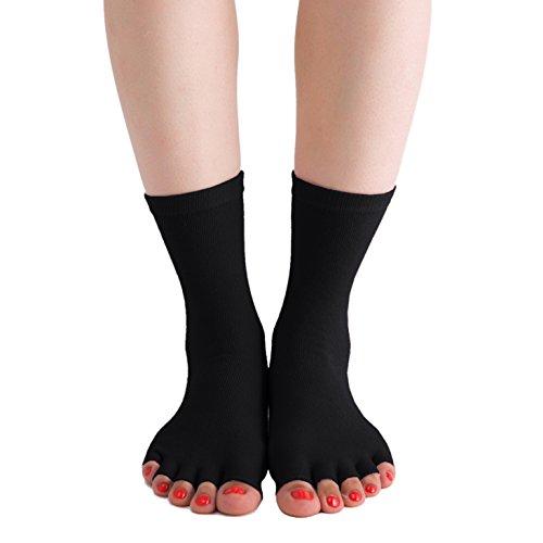 ChinFun Women's Premium Mid Cut Half Toe Grip Non Slip Toeless Socks for Sports, Yoga, Pilates, Bikram, Fitness, Barre, Dance, Studio, Hospital, Workout, Lounging, Healthcare, Maternity