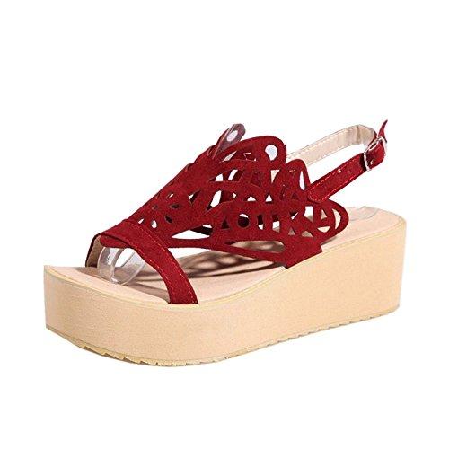 Coolcept Women Comfy Flatform Sandals Slingback Red 6m0KtJHr