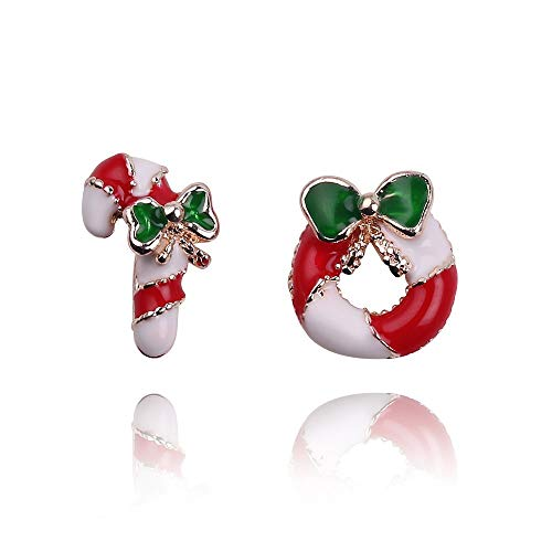 (Aggenix Store Earrings Santa Claus Christmas Earrings Snowman Deer Bell Christmas Tree Ear Jewelry Accessories Lovely Xmas Gifts for Women Girls Rhodium Plated (2 Pairs))