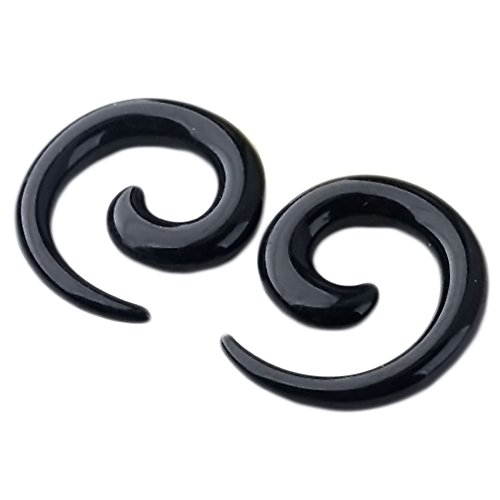 PiercingJ 2pcs 4g Black Uv Acrylic Spiral Ear Plug Stretcher Taper Expander ()
