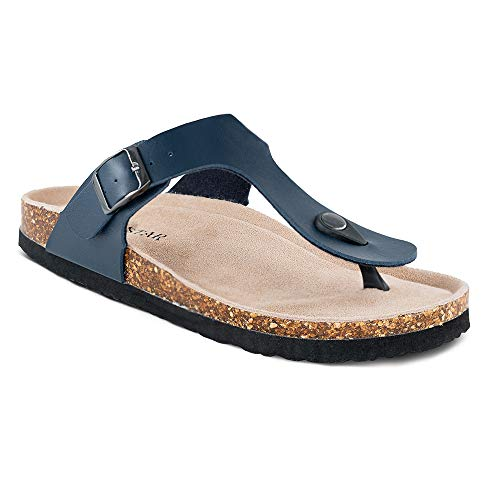 Leather Casual Thong Sandals - TF STAR Women's Thong Flip Flop Flat Casual Cork Sandals with Buckle Strap,Leather Cork Gizeh Sandals for Women/Girls/Ladies Navy