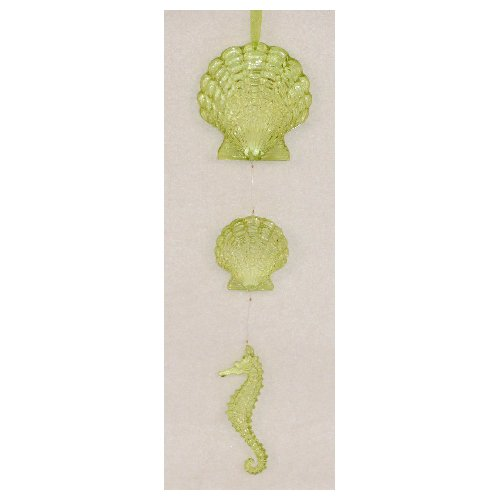 North Star Lime Green Scallop Shells Seahorse 10 Inch Christmas Holiday Tree Ornament Resin (Northstar Ornament)
