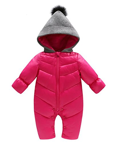 Puffer Jacket Girls Hooded (Genda 2Archer Unisex Baby Hooded Puffer Jacket Jumpsuit Winter Snowsuit Coat Romper(6-10M))