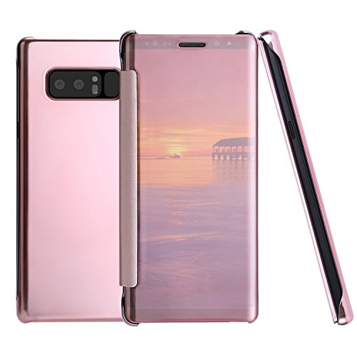 Nonmon Samsung Galaxy Note 8 Cases  Mirror Smart Clear Transparent View Window Flip Cover Protector Bumper Rose Gold