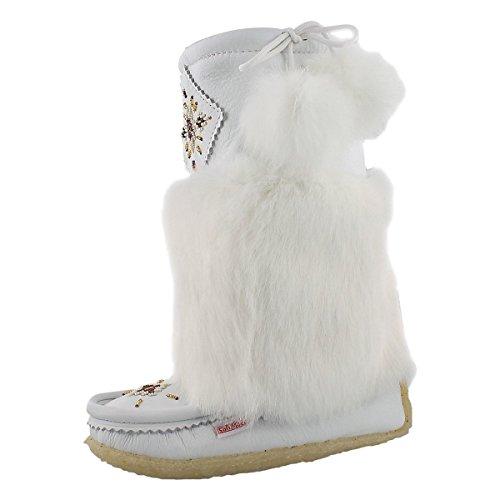 Rabbit Fur Mukluk (SoftMoc Women's Leather Rabbit Fur Mukluk White 9 M US)