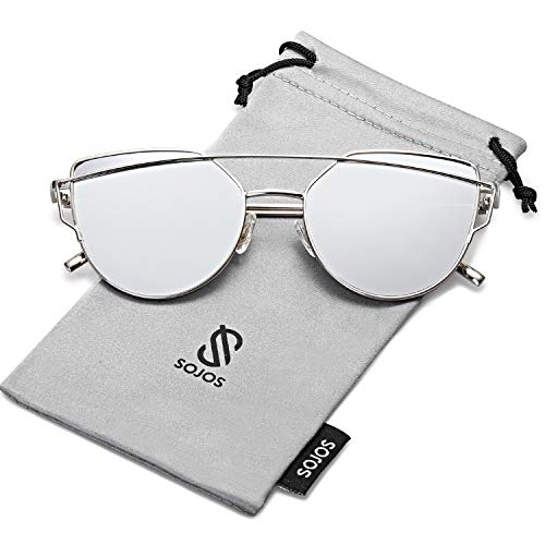 SOJOS Cat Eye Mirrored Flat Lenses Street Fashion Metal Frame Women Sunglasses SJ1001 with Silver Frame/Silver Mirrored ()