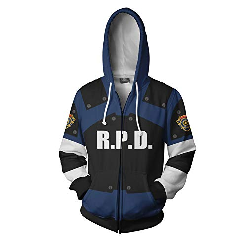 Leon Kennedy Hoodie Sweatshirt X-Costume 3D Printed Zipper Pullover Jacket Halloween Costume Unisex (US Large, Blue)]()