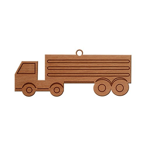 Big Truck Design Wooden Christmas Tree Ornament, Hanging Xmas Decor by MissCraftCo