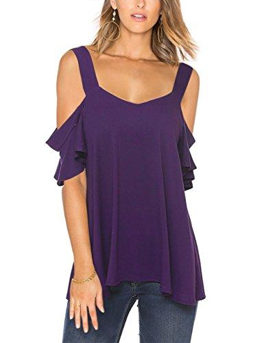 SunnyLady Women Sexy Ruffle Short Sleeve Off Shoulder T-shirt Knit Tops Purple M by SunnyLady