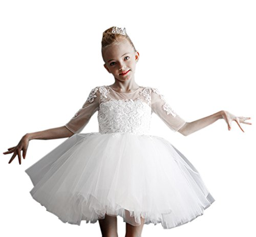 Beautyfudre Baby Girls' Communion Dress Sequin Tiered Tulle Princess Wedding Flower Toddler Pageant Dress White Age2 (Jeweled Tulle Baby Dress)