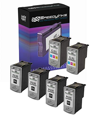 Speedy Inks Remanufactured Ink Cartridge Replacement for Canon PG30 & CL31 (4 Pigment Black, 2 Color, 6-Pack)
