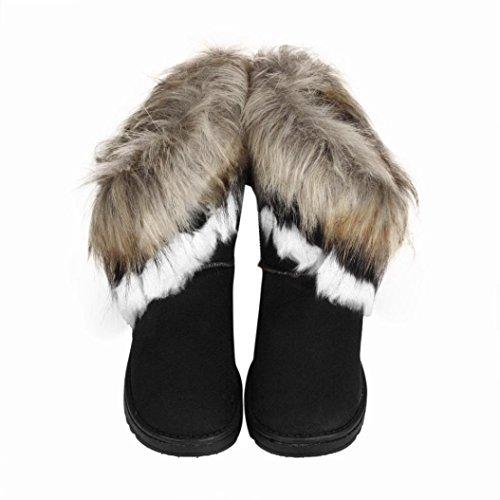 Mitte Mode Sohle klobige Stiefel Schwarz Leder Clode® Schuhe Damenstiefel Kunstpelz Kalb Fellmanschette Schnee Winter Damen 5anI7vqX