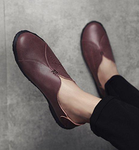 Dooxi Hommes Décontractée Plat Loafers Chaussures Mode Faux Cuir Confort Mocassins Chaussure Marron foncé bgpA6D28fZ