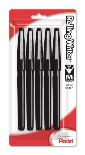 Pentel Rolling Writer Roller Ball Pen, Medium Line, Black Ink, Pack of 5 (R100BP5A)
