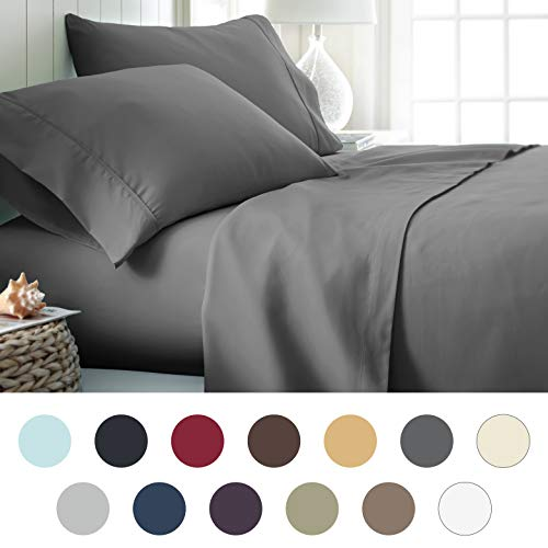 (ienjoy Home Hotel Collection Luxury Soft Brushed Bed Sheet Set, Hypoallergenic, Deep Pocket, Queen, Gray)