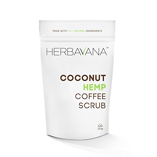 Herbavana Exfoliating Body Scrub - Coconut Hemp Coffee Scrub with Dead Sea Salt - Cellulite Remover, Body Exfoliator, Organic Bo