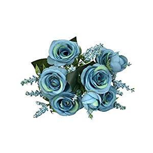 Goldweather Lifelike Artificial Fake Blooming Rose Flower Bridal Bouquet Wedding Party Home Decor Simulation Flowers (Sky Blue) 52