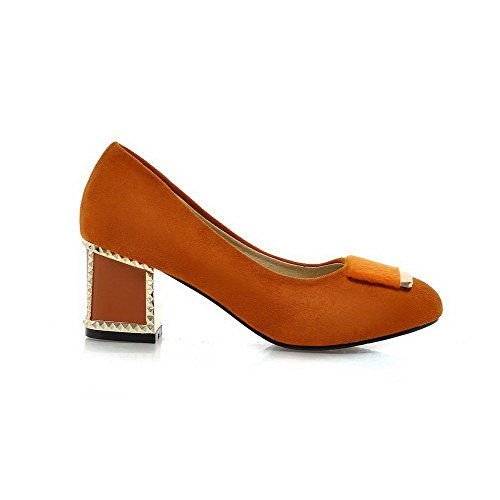 VogueZone009 Damen Ziehen auf Mittler Absatz Nubukleder Rein Rund Zehe Pumps Schuhe Kamel Farbe