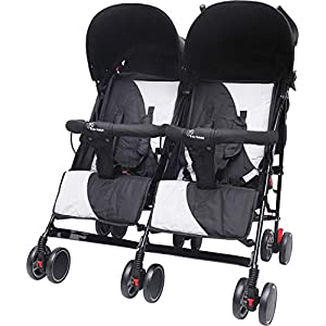 R for Rabbit Ginny and Johnny – The Twin Stroller and Pram (Black Grey)
