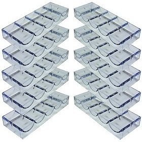Chip Capacity Clear Acrylic - Da Vinci 10 Clear Acrylic Stackable Poker Chip Trays. Each Rack holds 100 chips