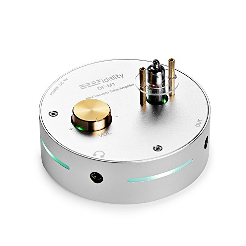 DEAFidelity DF-M1 Mini Vacuum Tube Audio Portable Integrated Headphone Amplifier/Pre-Amp, No Sound Distortion, Low Static Noise, Powerful Drive, Stereo, Aluminium Alloy Case, Compact Size, Silver by SainSonic