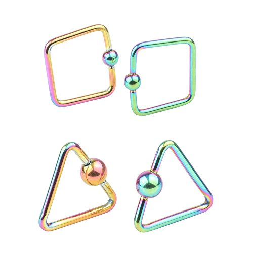 DRW 2-4pcs 16G Stainless Steel Square 3mm Captive Bead Rings Nose Belly Eyebrow Tragus Lip Ear Nipple Hoop Daith Ring BCR Body Piercing Jewelry (Bead Ring Captive Square)
