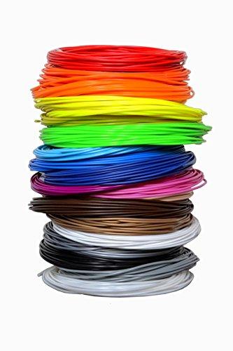 Premium PLA 3D Filament for 3D Printer & 3D Pen | 660 Linear Feet | 1.75 mm diameter | 20 Colors | Rolls Measure 33 Feet Each | Arts and Crafts Materials