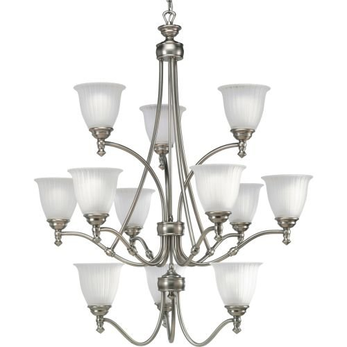3 Tier 12 Light Pendant - Progress Lighting P4510-81 12-Light Three-Tier Renovations Chandelier, Antique Nickel