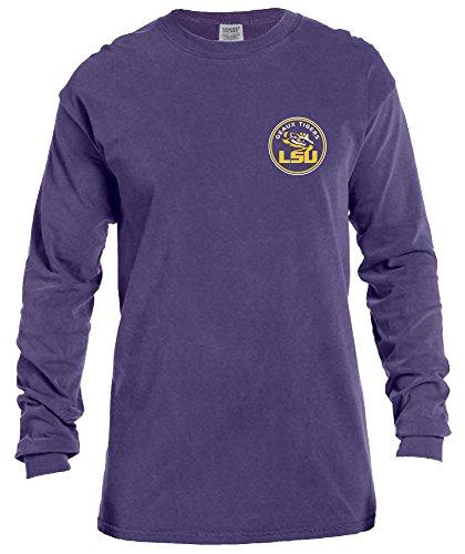 College Long Sleeve Tee - NCAA LSU Tigers Rounds Long Sleeve Comfort Color Tee, Medium,Grape