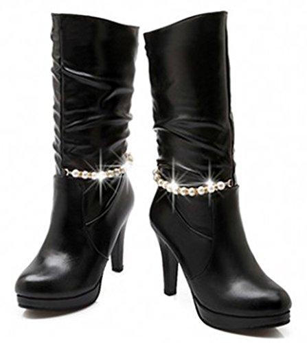 Idifu Mujeres Beads Stiletto Plataforma Slouchy Mid Calf Botas Negro
