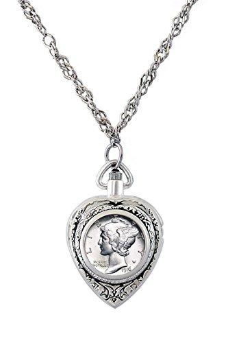 Mercury Dime Heart Locket and Watch (State Ladies Heart Watch)